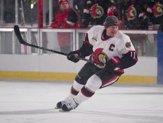 <p>Former Ottawa Senators captain and franchise leader in goals and points Daniel Alfredsson skates in the alumni game on Parliament Hill on Friday. </p>