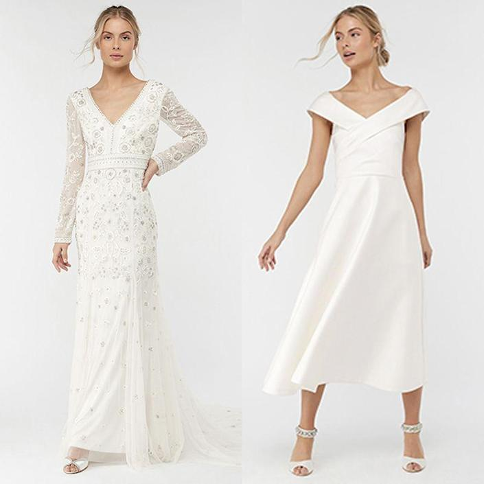"<p>Another stalwart of the high street wedding dress community, <a href=""http://uk.monsoon.co.uk/uk/wedding/bridal/dresses"" rel=""nofollow noopener"" target=""_blank"" data-ylk=""slk:Monsoon"" class=""link rapid-noclick-resp"">Monsoon</a> have elegant dressing on a budget down. The brand is also a one-stop-shop for all things wedding if you have bridesmaids and flower girls to kit out, too.</p><p>(L) Elizabeth embellished dress, £499 <a class=""link rapid-noclick-resp"" href=""https://go.redirectingat.com?id=127X1599956&url=https%3A%2F%2Fuk.monsoon.co.uk%2Fview%2Fproduct%2Fuk_catalog%2Fmon_40%2Cmon_40.1%2F6402054610&sref=http%3A%2F%2Fwww.cosmopolitan.com%2Fuk%2Ffashion%2Fstyle%2Fg4924%2Fhigh-street-brands-that-sell-wedding-dresses%2F"" rel=""nofollow noopener"" target=""_blank"" data-ylk=""slk:BUY NOW"">BUY NOW</a> <br><br>(R) Grace Bardot midi dress, £249 <a class=""link rapid-noclick-resp"" href=""https://go.redirectingat.com?id=127X1599956&url=https%3A%2F%2Fuk.monsoon.co.uk%2Fview%2Fproduct%2Fuk_catalog%2Fmon_40%2Cmon_40.1%2F6401164618&sref=http%3A%2F%2Fwww.cosmopolitan.com%2Fuk%2Ffashion%2Fstyle%2Fg4924%2Fhigh-street-brands-that-sell-wedding-dresses%2F"" rel=""nofollow noopener"" target=""_blank"" data-ylk=""slk:BUY NOW"">BUY NOW</a> </p>"