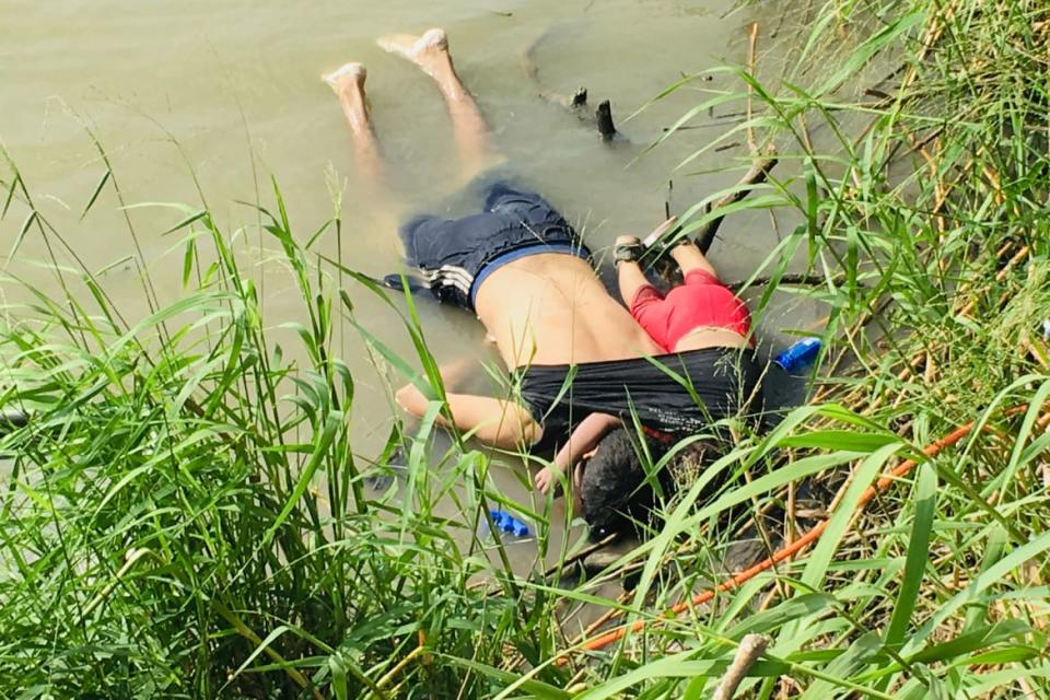 "<div class=""inline-image__caption""><p>The bodies of Salvadoran migrant Oscar Alberto Martínez Ramírez and his nearly 2-year-old daughter Valeria lie on the bank of the Rio Grande in Matamoros, Mexico, on June 24, 2019, after they drowned trying to cross the river to Brownsville, Texas. Martinez' wife, Tania told Mexican authorities she watched her husband and child disappear in the strong current.</p></div> <div class=""inline-image__credit"">Julia Le Duc/AP</div>"