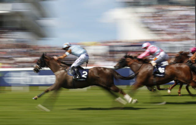 Britain Horse Racing - Derby Festival - Epsom Racecourse - June 3, 2017 Tom Eaves on Caspian Prince wins the 3:45 Investec Corporate Banking 'Dash' Handicap Action Images via Reuters / Matthew Childs Livepic EDITORIAL USE ONLY.