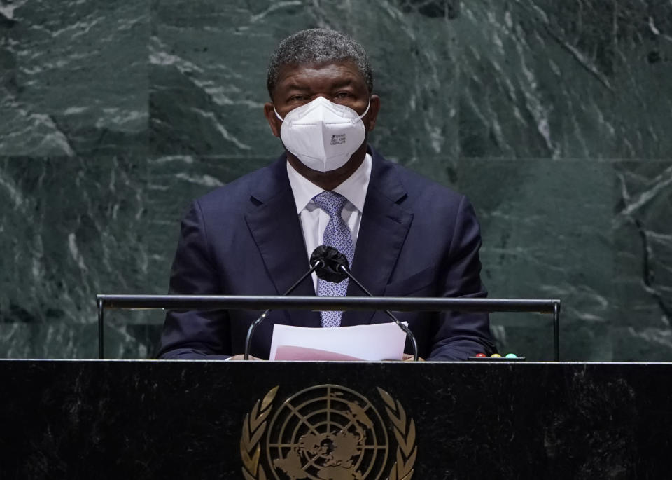 João Manuel Gonçalves Lourenço, President of Angola addresses the 76th Session of the U.N. General Assembly at United Nations headquarters in New York, on Thursday, Sept. 23, 2021. (Timothy A Clary/Pool Photo via AP)