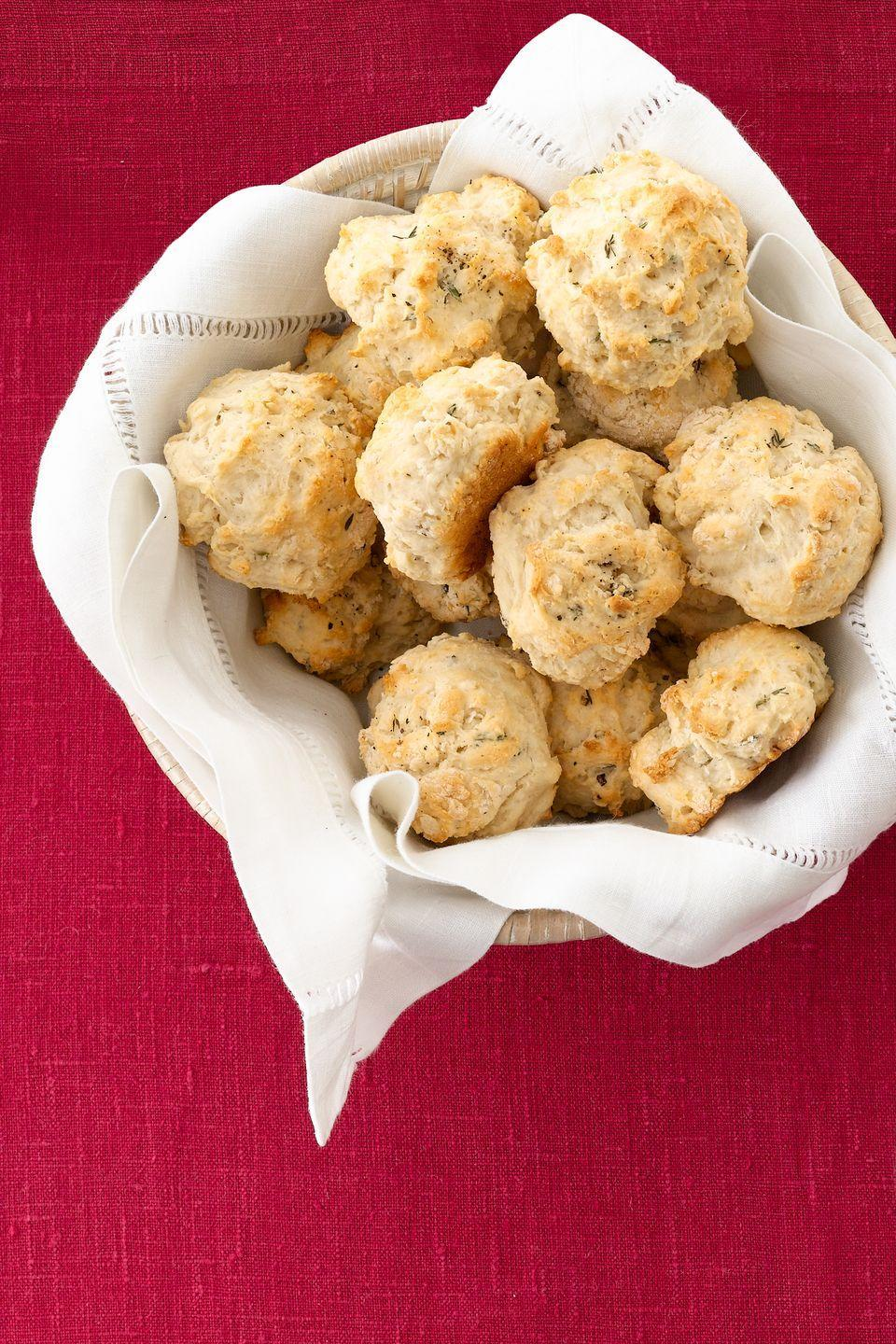 """<p>Store the biscuits at room temperature in an airtight container for one week. The butter can be refrigerated for up to two weeks. Warm before serving, to make them extra mouthwatering.</p><p><em><strong><a href=""""https://www.womansday.com/food-recipes/food-drinks/recipes/a12087/thyme-biscuits-honey-thyme-butter-recipe-wdy1112/"""" rel=""""nofollow noopener"""" target=""""_blank"""" data-ylk=""""slk:Get the Thyme Biscuits with Honey-Thyme Butter recipe"""" class=""""link rapid-noclick-resp"""">Get the Thyme Biscuits with Honey-Thyme Butter recipe</a>.</strong></em><br></p>"""
