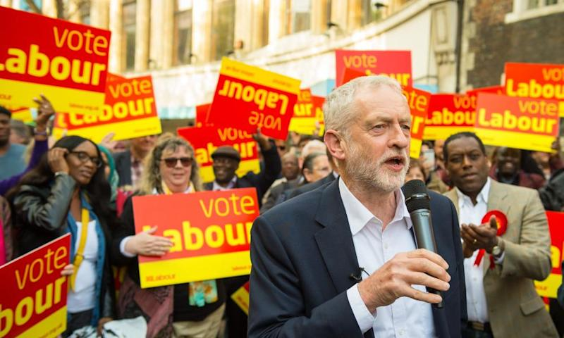 Jeremy Corbyn delivers a stump speech to Labour activists in Croydon.