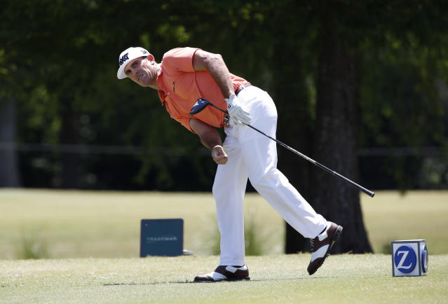 Bill Horschel reacts after hitting off the seventh tee during the final round of the PGA Zurich Classic golf tournament's two-man team format at TPC Louisiana in Avondale, La., Sunday, April 29, 2018. Horschel and teammate Scott Piercy defeated Pat Perez and Jason Dufner. (AP Photo/Tyler Kaufman)