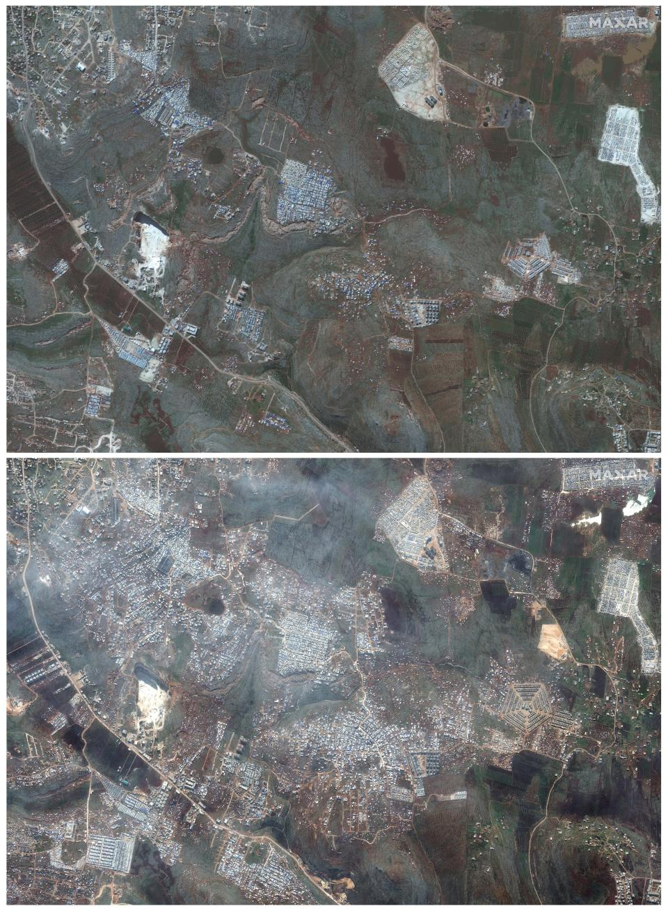 This combination of satellite images provided by Maxar Technologies shows an area near Kafaldin in northern Syria's Idlib province near the Turkish border on Feb. 5, 2019, top, and the same area with a large number of refugee tents for internally displaced people on Feb. 16, 2020, bottom. The difference between the two images illustrates the rapid expansion of refugees as hundreds of thousands of civilians in the area are scrambling to escape a widening, multi-front offensive by Syrian President Bashar Assad's forces. (Satellite image ©2020 Maxar Technologies via AP)