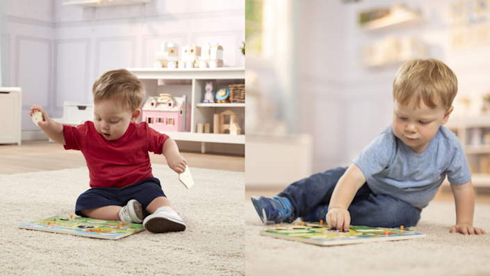 Your child will have a blast as they strengthen their fine motor skills playing with the Melissa & Doug Peg Puzzle Set.