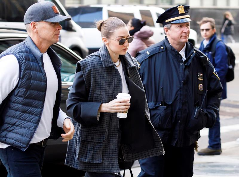 US model Gigi Hadid (C) arrives to New York State Supreme Court to be vetted for the jury for the trial of former Hollywood producer Harvey Weinstein in his sexual assault trial in New York, New York, USA, 16 January 2020. Hadid was was not put on the jury for the trial, which is expected to last for about eight weeks and is based on sexual assault and rape allegations of two separate women. EFE/EPA/JUSTIN LANE