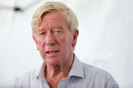 2020 Republican U.S. presidential candidate and former Massachusetts Governor Weld talks to the media at the Iowa State Fair in Des Moines