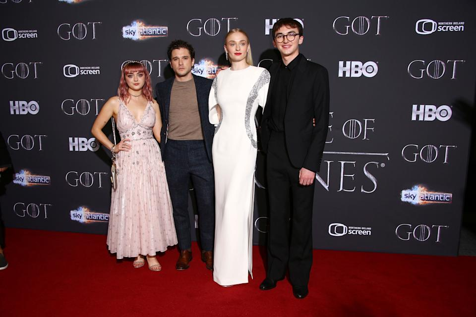 """Maisie Williams, Kit Harington, Sophie Turner and Isaac Hempstead Wright at the Season 8 premiere of """"Game of Thrones"""" in Belfast, Northern Ireland, in April. (Photo: Joel C Ryan/Invision/AP)"""