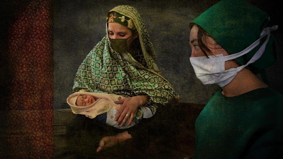 Afghan mother and baby with doctor. Photo collage illustration from photographs courtesy Getty Images