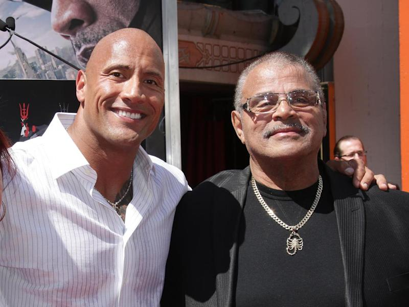Dwayne and Rocky Johnson in 2015: Rex Features