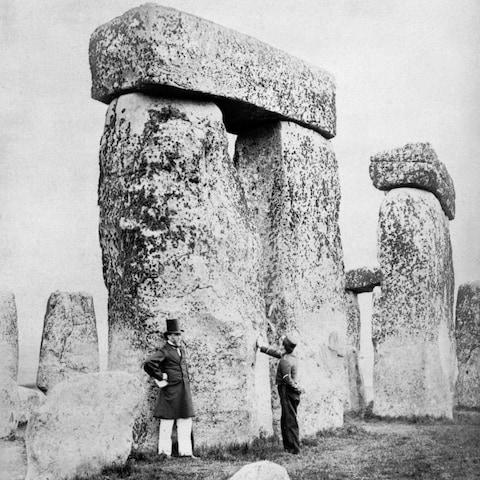 Visitors at Stonehenge in nineteenth century - Credit: English Heritage