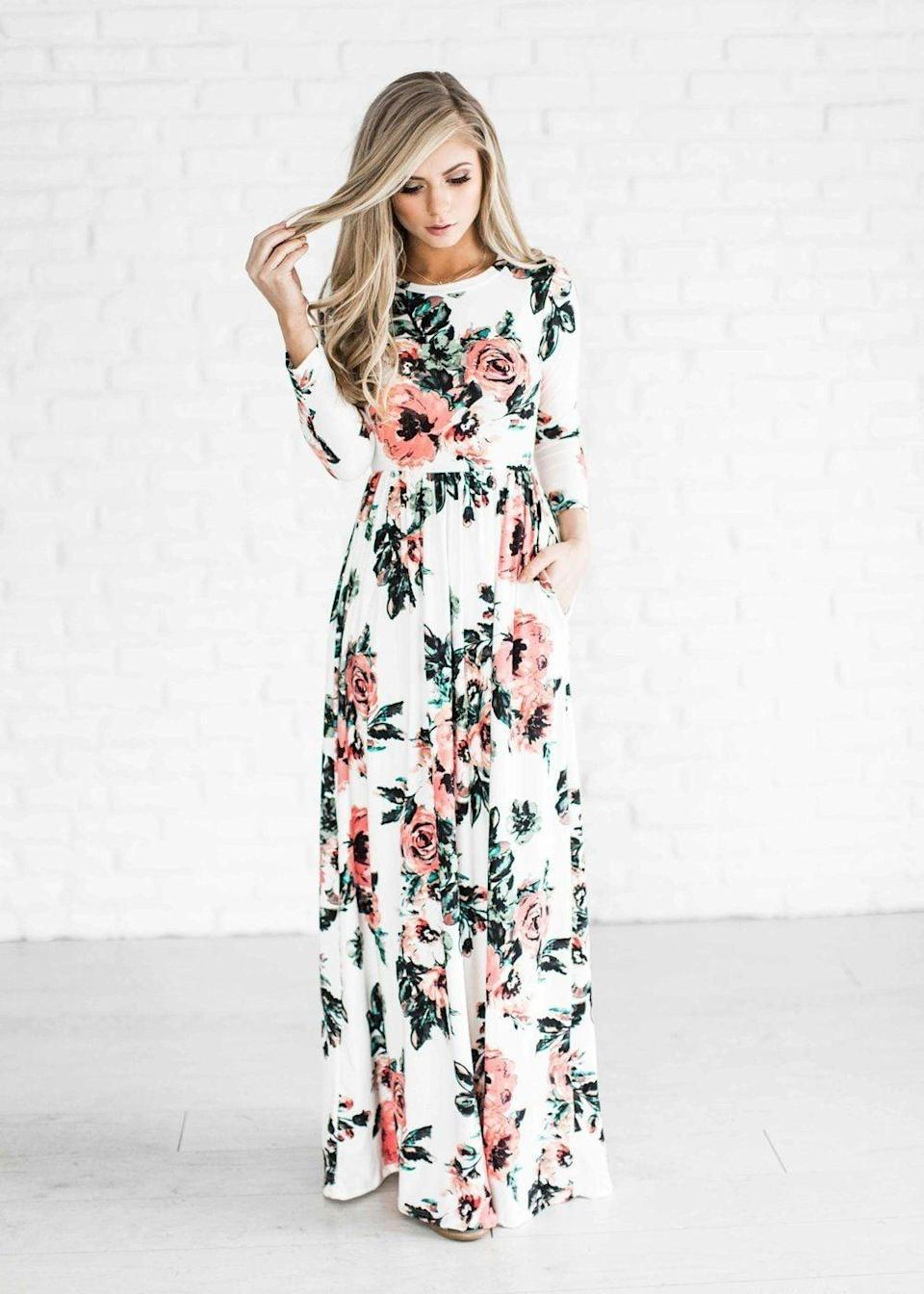 """<p>We especially love this <a href=""""https://www.popsugar.com/buy/Youcoo-Floral-Printed-Long-Sleeve-Dress-116492?p_name=Youcoo%20Floral%20Printed%20Long-Sleeve%20Dress&retailer=amazon.com&pid=116492&price=14&evar1=fab%3Aus&evar9=44662359&evar98=https%3A%2F%2Fwww.popsugar.com%2Ffashion%2Fphoto-gallery%2F44662359%2Fimage%2F44662364%2FYoucoo-Floral-Printed-Long-Sleeve-Dress&list1=shopping%2Camazon%2Cdresses%2Cspring%2Cflorals%2Cspring%20fashion&prop13=mobile&pdata=1"""" class=""""link rapid-noclick-resp"""" rel=""""nofollow noopener"""" target=""""_blank"""" data-ylk=""""slk:Youcoo Floral Printed Long-Sleeve Dress"""">Youcoo Floral Printed Long-Sleeve Dress</a> ($14) because it has pockets.</p>"""