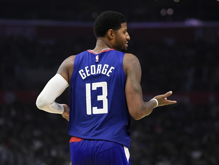 "Clippers forward Paul George <span class=""copyright"">(Kelvin Kuo / Associated Press)</span>"