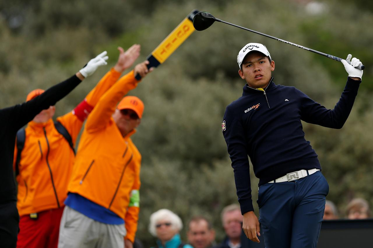 Golf - The 146th Open Championship - Royal Birkdale - Southport, Britain - July 21, 2017   Thailand's Phacara Khongwatmai hits his tee shot on the second hole during the second round    REUTERS/Andrew Boyers