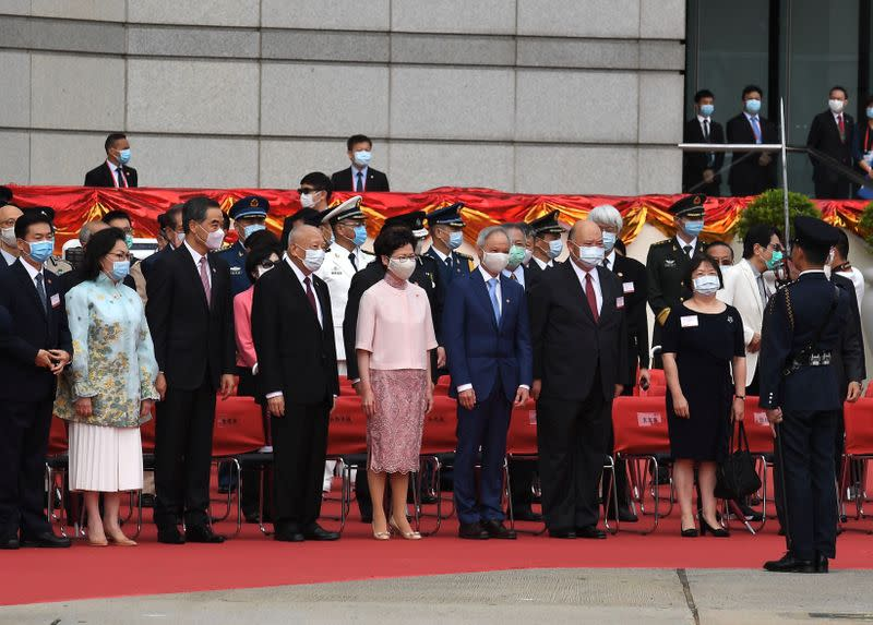 Hong Kong Chief Executive Carrie Lam attends the flag-raising ceremony for the 23rd anniversary of the establishment of the Hong Kong Special Administrative Region