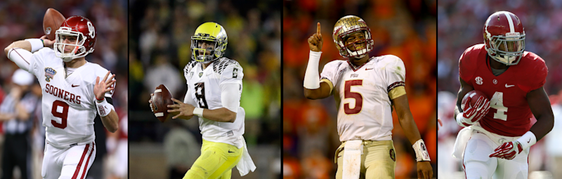 (L. to R.) Trevor Knight, Marcus Mariota, Jameis Winston, and T.J. Yeldon will try to lead their teams to the first College Football Playoff