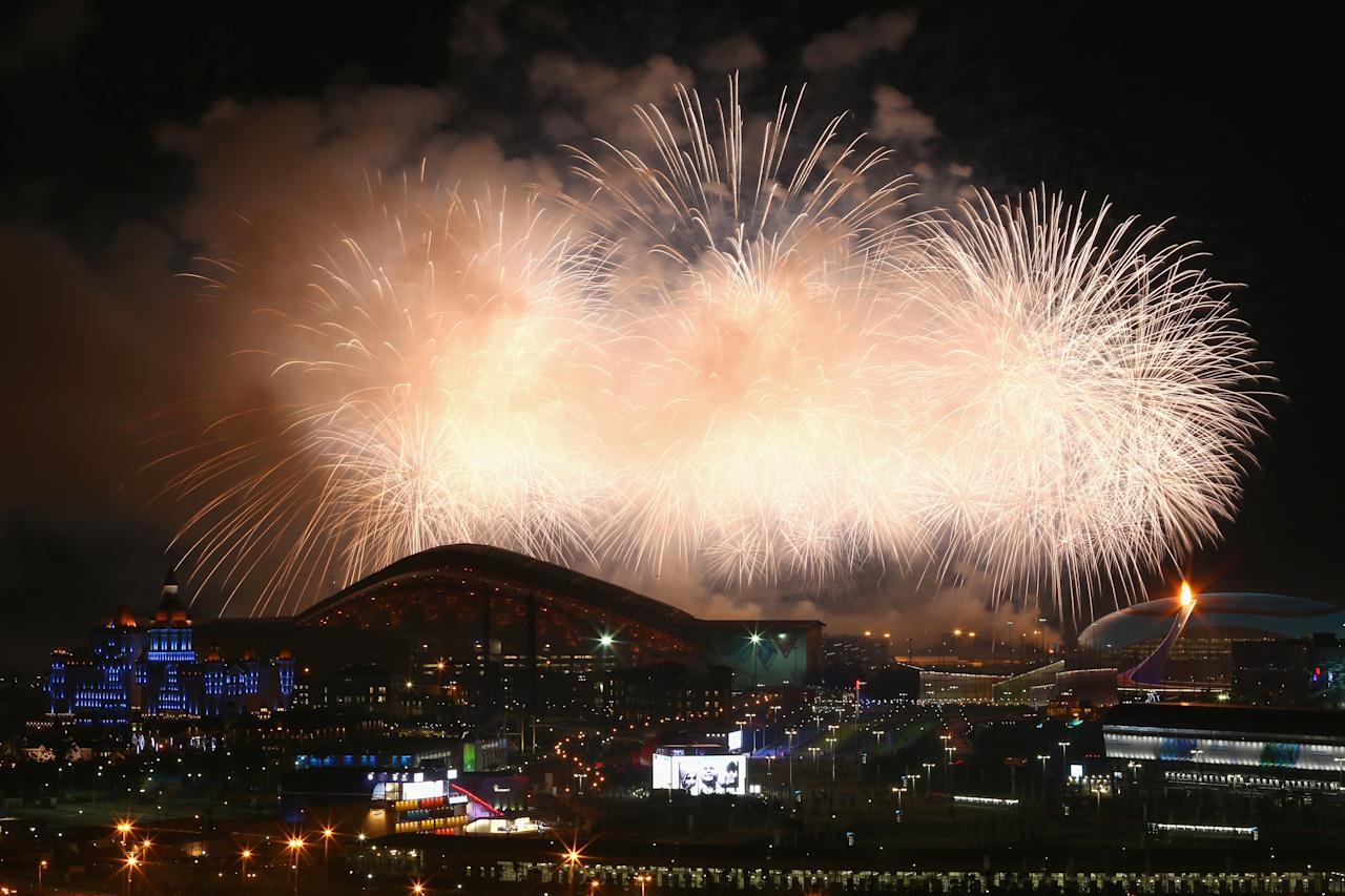 SOCHI, RUSSIA - FEBRUARY 07: Fireworks on display over the Olympic Park during the Opening Ceremony of the Sochi 2014 Winter Olympics at Fisht Olympic Stadium on February 7, 2014 in Sochi, Russia. (Photo by Streeter Lecka/Getty Images)