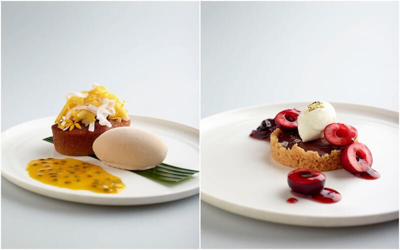 Jackfruit pudding and chocolate tart. Photos: Como Cuisine