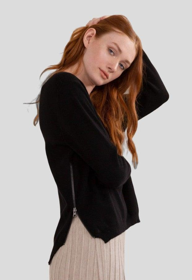 """<br><br><strong>Modern Citizen</strong> Carla Cashmere Blend Sweater, $, available at <a href=""""https://go.skimresources.com/?id=30283X879131&url=https%3A%2F%2Fwww.fromthelobby.com%2Fitems%2Fmodern-citizen-carla-side-zip-cashmere-blend-sweater"""" rel=""""nofollow noopener"""" target=""""_blank"""" data-ylk=""""slk:The Lobby"""" class=""""link rapid-noclick-resp"""">The Lobby</a>"""