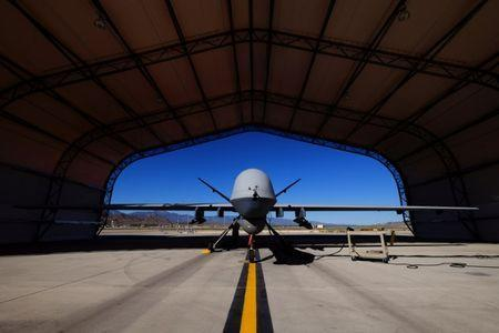 FILE PHOTO: A U.S. Air Force MQ-9 Reaper drone sits in a hanger at Creech Air Force Base May 19, 2016. The base in Nevada is the hub for the military's unmanned aircraft operations in the United States. REUTERS/Josh Smith/File Photo