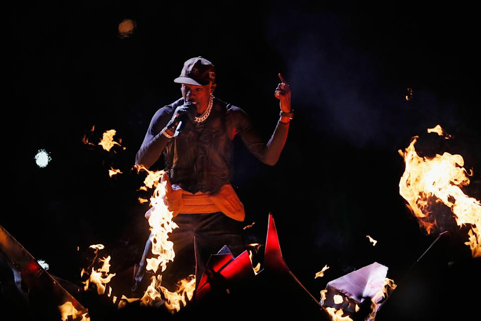 <p>Travis Scott performs during the Pepsi Super Bowl LIII Halftime Show at Mercedes-Benz Stadium on February 3, 2019 in Atlanta, Georgia. (Photo by Kevin C. Cox/Getty Images) </p>
