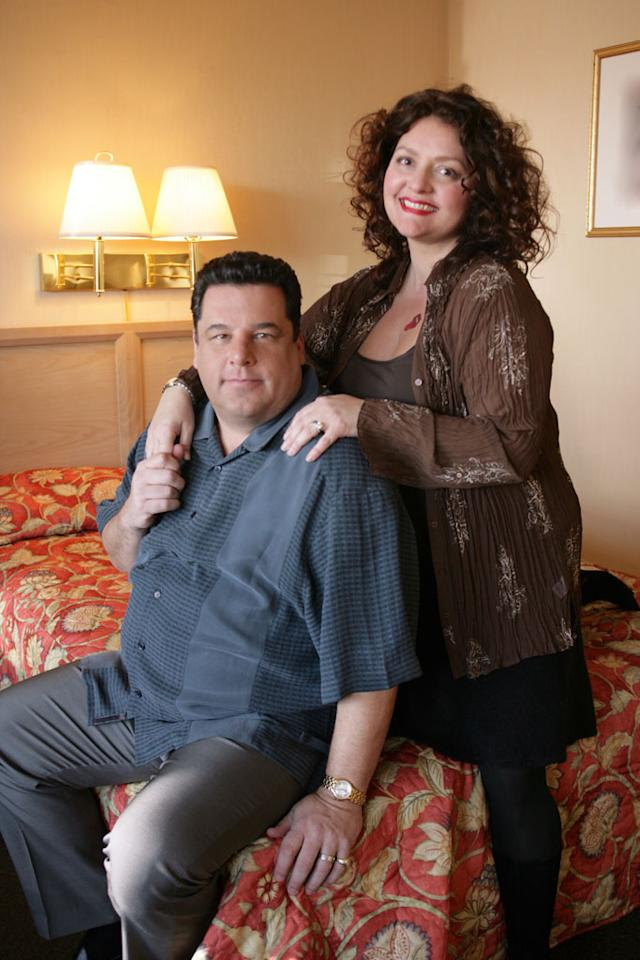 "Steven R. Schirripa and Aida Turturro in HBO's ""The Sopranos."""