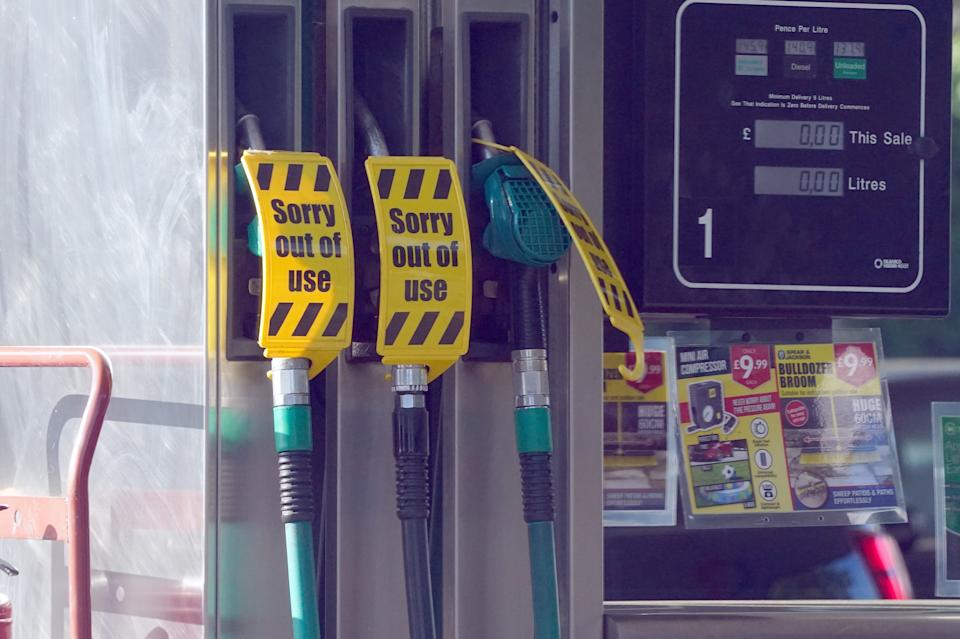 Closed pumps at a Co-op Texaco garage in Maidenhead, Berkshire. Drivers are being urged by the Government to
