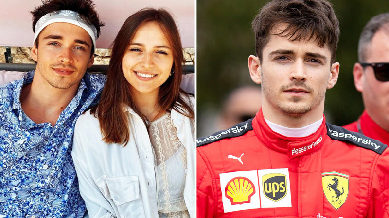 Charles Leclerc and girlfriend Charlotte Sine, pictured here in F1 and on Instagram.