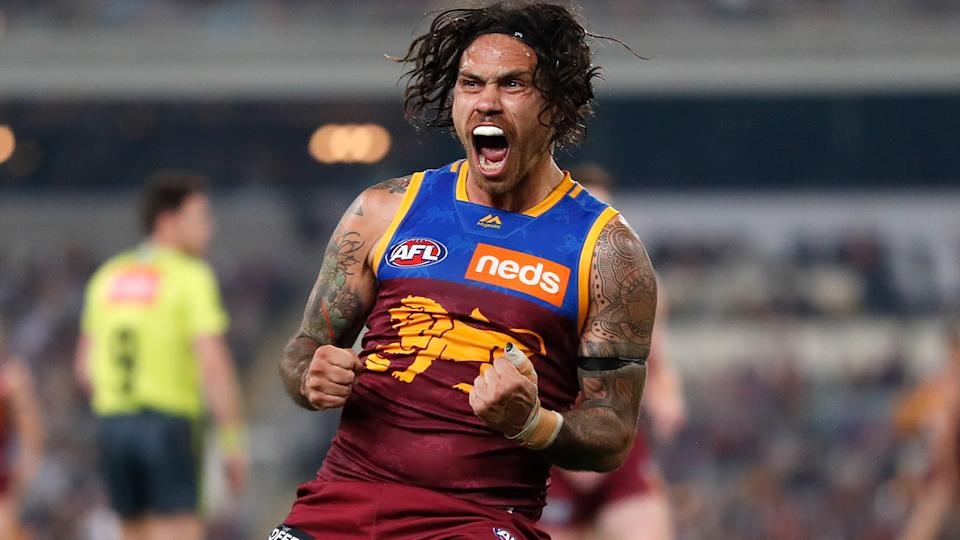 Allen Christensen, pictured here in action for Brisbane Lions in 2019.