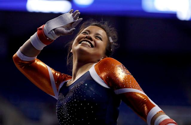 "Samantha Cerio says her knee injuries are just ""a small setback."" (AP Photo/Jeff Roberson)"