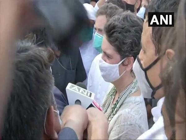 Congress leader Priyanka Gandhi Vadra during her way to Hathras in Uttar Pradesg. (Photo/ANI)