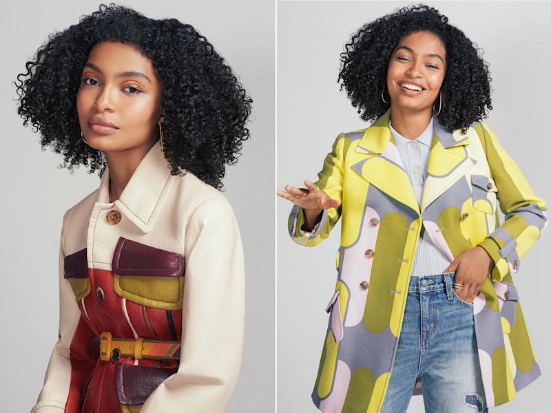 On left Yara Shahidi wears Prada Paneled Leather Jacket with Prada belt; on right Yara wears Miu Miu Jacket and knit shirt with vintage jeans. (Photographed by Christine Hahn; Styled by Christopher Kim)