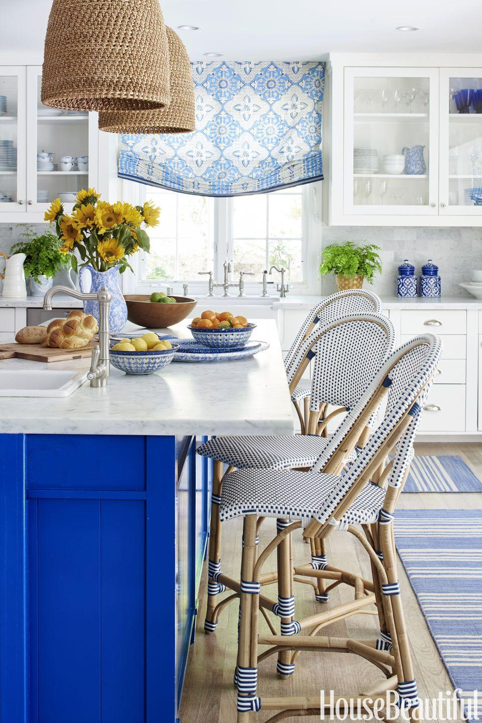"<p>Take <a href=""https://www.housebeautiful.com/design-inspiration/house-tours/g3878/mark-d-sikes-blue-white-house/"" rel=""nofollow noopener"" target=""_blank"" data-ylk=""slk:blue and white"" class=""link rapid-noclick-resp"">blue and white</a> to the next level with a vibrant burst of cobalt, like in this dreamy kitchen by Mark D. Sikes. It makes a statement but still feels classic and is simply perfect for a coastal beach house (or just someone who wishes they lived a little closer to the ocean). </p>"