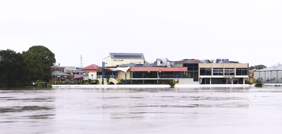 The Macleay River is close to bursting its banks in Kempsey. Source: ABC