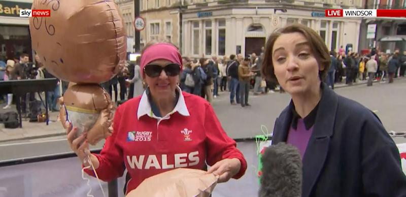 Sky News broadcast live from outside Windsor Palace to cover reactions to the impending birth announcement. One woman's interview is going viral online. (Credit: Sky News)