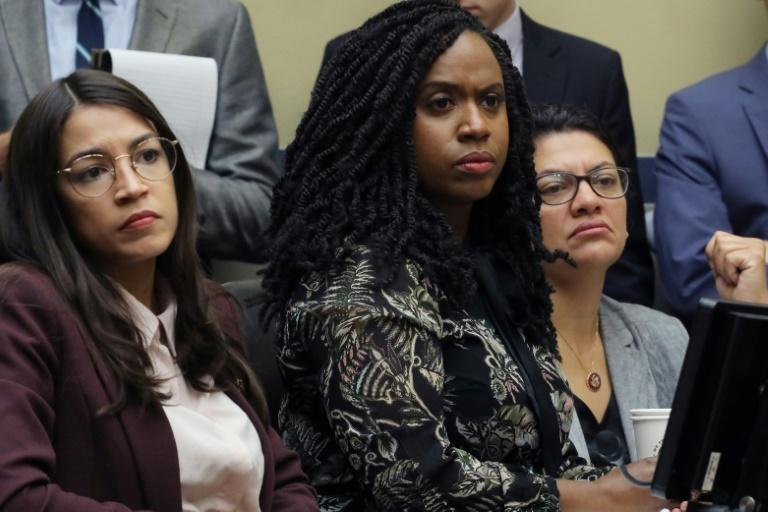 (L-R) Rep. Alexandria Ocasio-Cortez, Rep. Ayanna Pressley and Rep. Rashida Tlaib attend a hearing on Capitol Hill in July 2019