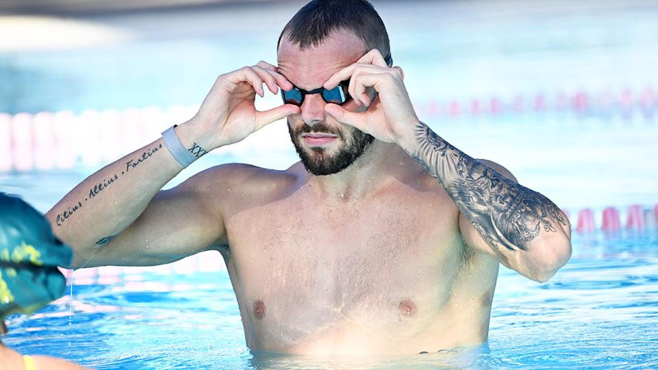 Kyle Chalmers, pictured here at a Swimming Australia training camp ahead of the Tokyo Olympics.