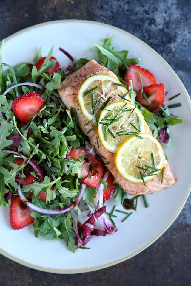 """<p>This is everything we want in a summer meal: Fast, easy and super fresh.</p><p>Get the recipe from <a href=""""/cooking/recipe-ideas/recipes/a47698/roasted-salmon-with-strawberry-recipe/"""" target=""""_blank"""">Delish</a>.</p>"""