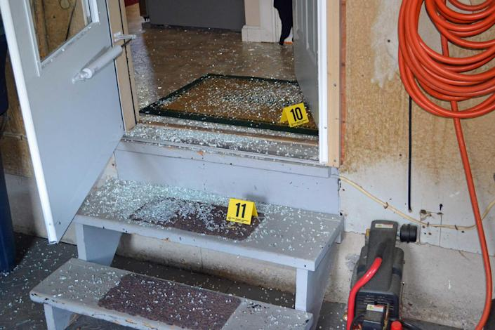 Broken glass from the interior garage door where Israel Keyes broke into the Currier's home in Vermont. / Credit: Essex Police Department