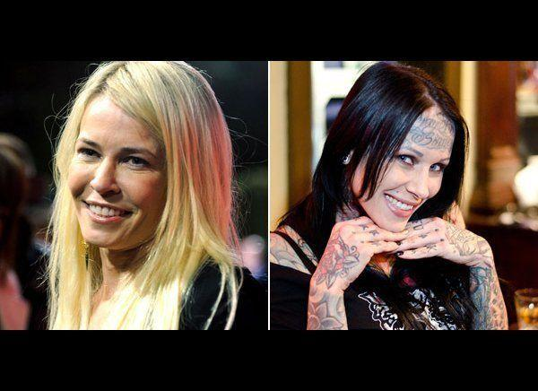 """Chelsea Handler <a href=""""http://blog.zap2it.com/pop2it/2010/04/chelsea-handler-goes-after-michelle-bombshell-mcgee-some-more.html"""" target=""""_hplink"""">started a feud with Jesse James' tattooed mistress Michelle """"Bombshell"""" McGee in 2010,</a> with a joke she wrote on her blog: """"I guess she doesn't read magazines which makes sense, since she basically has one on her face.""""    McGee responded on her Facebook page writing:     """"Chelsea, here's some free advice: Use some of that Botox from your forehead and put it in your flabby underarm skin. I've seen better wings in a bucket of KFC chicken."""" And later wrote, """"""""In all seriousness, Im a big fan of 'Chelsea Lately' ... I was laughing my ass off.... feel so honored to have a transexual [sic] poke fun of me ...""""     Don't mess with a comedian -- Handler didn't hold back with her response to McGee:     """"First of all, look at my forehead, you dumb bitch, okay? It moves ... You have a tattoo on your forehead, so you have had a needle in your forehead -- and probably Jesse James' balls. So shut your face."""""""