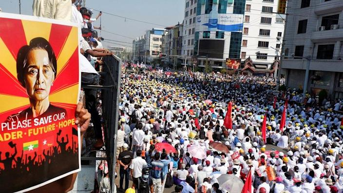 Demonstrators protest against a military coup in Mandalay, Myanmar, February 22, 2021.