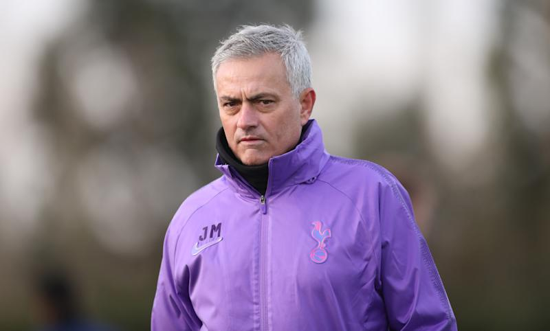 ENFIELD, ENGLAND - NOVEMBER 20: Jose Mourinho, Head Coach of Tottenham Hotspur during the Tottenham Hotspur training session at Tottenham Hotspur Training Centre on November 20, 2019 in Enfield, England. (Photo by Tottenham Hotspur FC/Tottenham Hotspur FC via Getty Images)