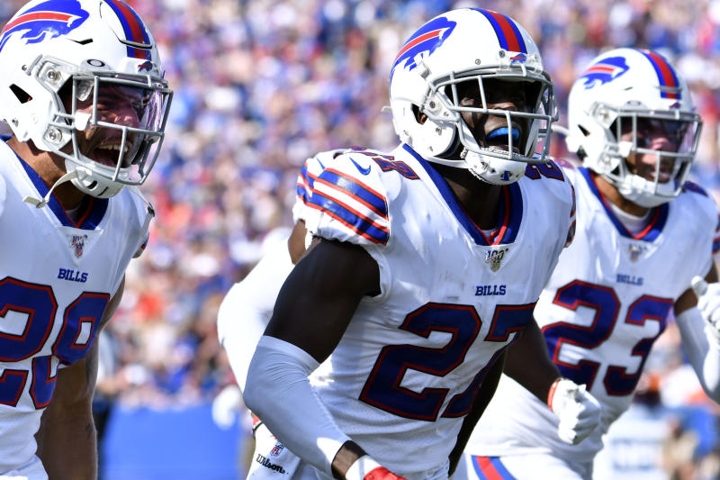 Buffalo Bills cornerback Tre'Davious White (27) flanked by cornerback Kevin Johnson (29) and strong safety Micah Hyde (23)