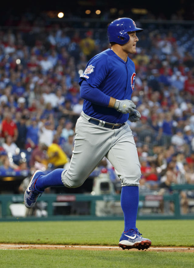 Chicago Cubs' Anthony Rizzo rounds the bases for his home run during the third inning of a baseball game against the Philadelphia Phillies, Thursday, Aug. 15, 2019, in Philadelphia. (AP Photo/Chris Szagola)