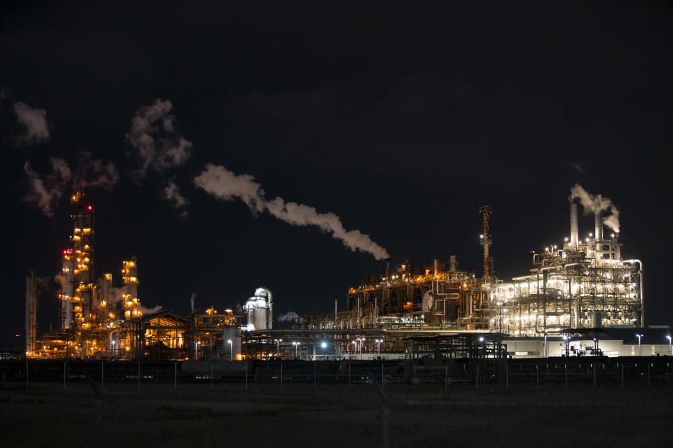 Portions of the LyondellBasell facility can be seen from an area east of Miller Cut Off Road in La Porte, Texas Tuesday, July 27, 2021. An explosion Tuesday evening killed two people at the facility and left several others injured. (Mark Mulligan/Houston Chronicle via AP)