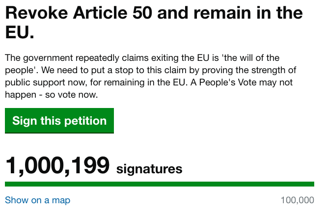The petition passed a million signatures by 3pm on Thursday