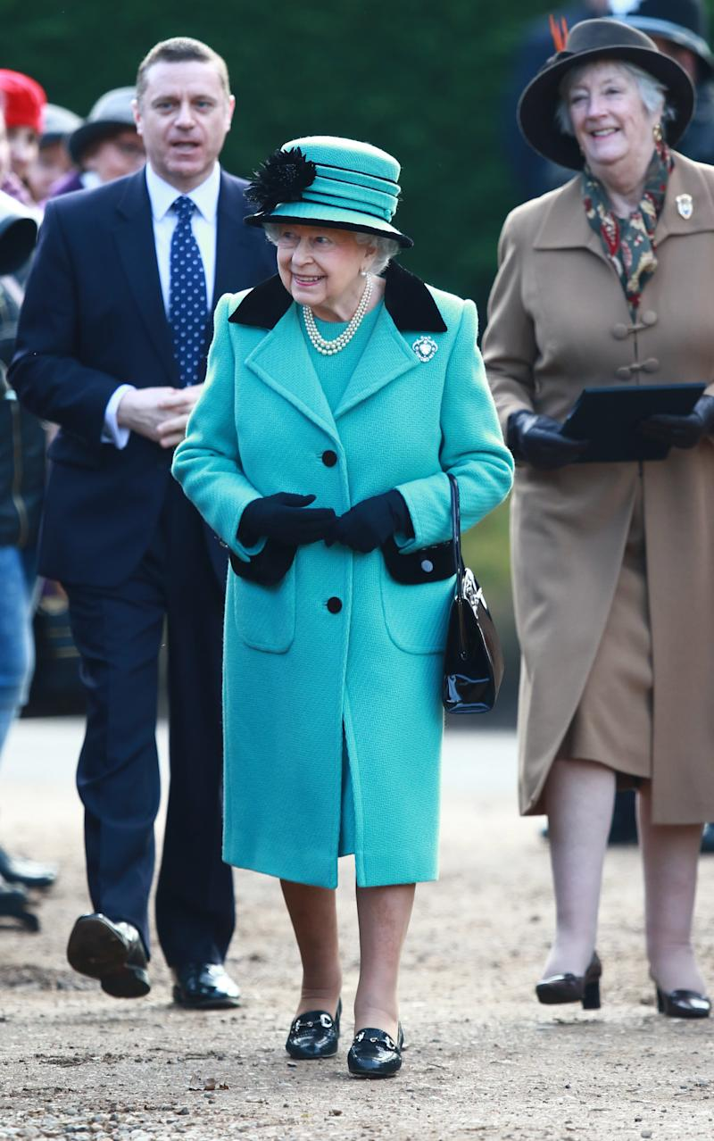 The Queen carries her beloved Launer handbag during a recent church visit - Copyright (c) 2017 Rex Features. No use without permission.