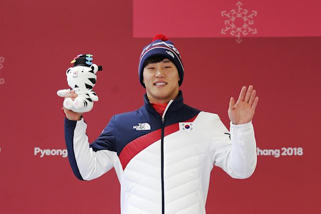 <p>Sungbin Yun of Korea celebrates winning gold in the Men's Skeleton at Olympic Sliding Centre on February 16, 2018 in Pyeongchang-gun, South Korea. (Getty) </p>