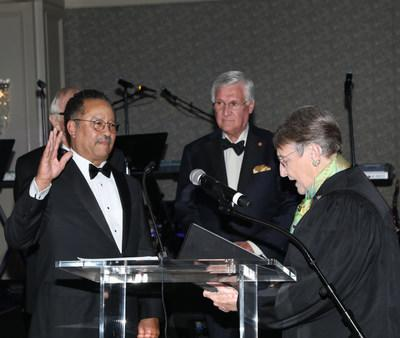 Luther J. Battiste, III is sworn in by retired Chief Justice Jean Hoefer Toal of the Supreme Court of South Carolina
